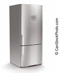 metallisk, køleskab, på hvide, isoleret, baggrund.