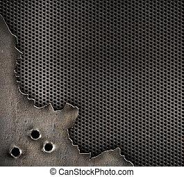 metallisk med projektil hål, militär, bakgrund