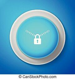 metallkette, und, schloß, ikone, freigestellt, auf, blaues, hintergrund., vorhängeschloß, und, stahl, chain., kreis, blaues, button., vektor, abbildung