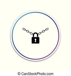metallkette, und, schloß, ikone, freigestellt, weiß, hintergrund., vorhängeschloß, und, stahl, chain., kreis, weißes, button., vektor, abbildung