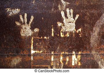 metallo arrugginito, con, handprint