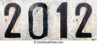 metallo arrugginito, numeri, piastra