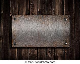 metallo arrugginito, piastra, su, legno, fondo