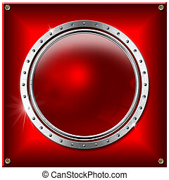 metallo, bandiera, rotondo, fondo, rosso