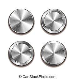 metallo, bottone, isolato, bianco, vettore
