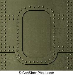 metallo, cachi, armatura, fondo, con, chiodi, 3d,...
