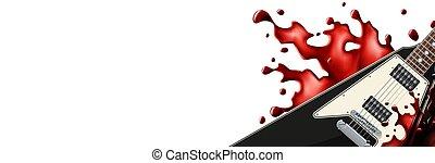 metallo, chitarra, fondo., schizzo, nero, sangue, sagoma, bianco, bandiera
