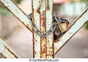 metallo, chiuso chiave, vecchio, cancello, lucchetto