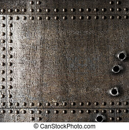 metallo, danneggiato, fori, fondo, pallottola