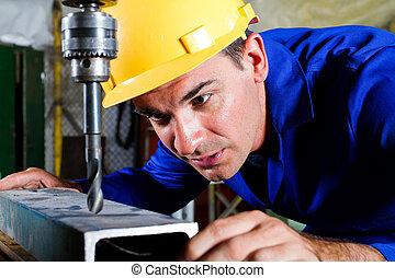 metallo, drillpress, maschio, lavoratore, usando