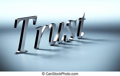 metallo, fiducia, parola, 3d, render, con, prospettiva, e,...