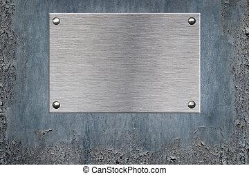 metallo, fondo, piastra