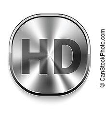 metallo, hd, icona