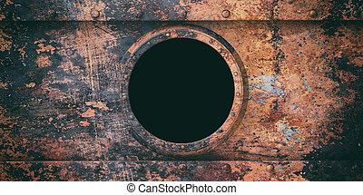metallo, illustrazione, sottomarino, arrugginito, fondo, oblò, 3d