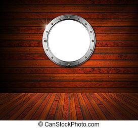metallo, interno, legno, oblò, stanza