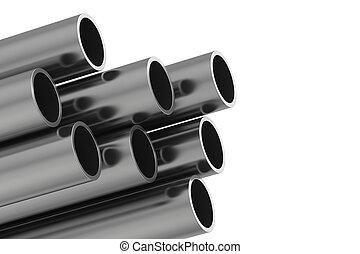 metallo, isolato, illustrazione, interpretazione, fondo, pipe., bianco, 3d