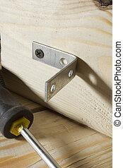 metallo, legno, legatura, assi, angoli