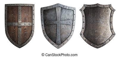 metallo, medievale, schermi, set, isolato