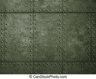 metallo, militare, sfondo verde, con, chiodi