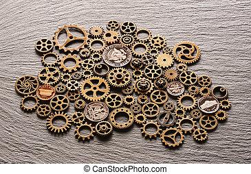 metallo, monete, ruote dentate, vario, stati uniti