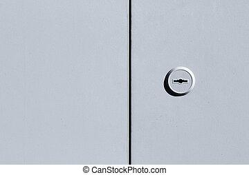 metallo, nero bianco, porta, fondo