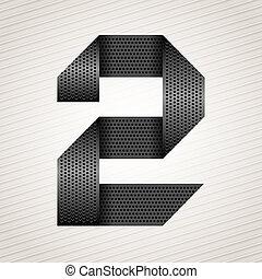 metallo, -, numero due, 2, nastro