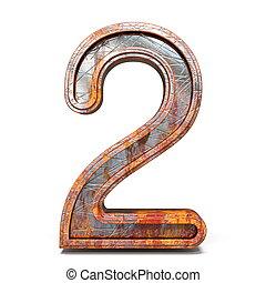 metallo, numero due, arrugginito, 2, font, 3d