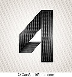 metallo, -, numero quattro, 4, nastro