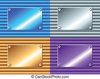 metallo ondulato, con, piastra