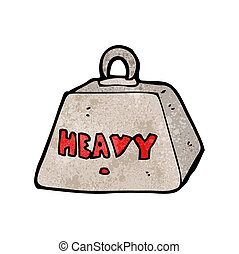 metallo pesante, cartone animato, peso