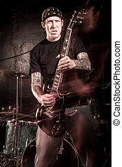 metallo pesante, giocatore chitarra