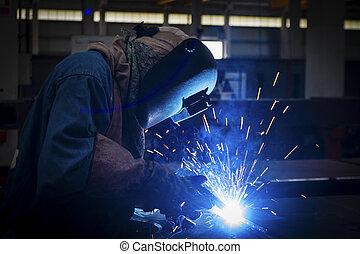 metallo, protettivo, lavoratore, maschera, saldatura