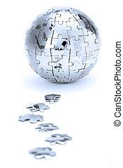 metallo, puzzle, globo, isolato, bianco, fondo, in, luce blu