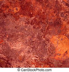 metallo, ruggine, fondo, rosso