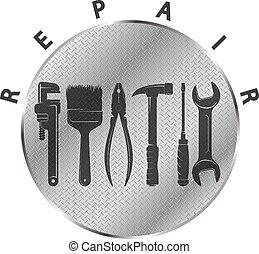 metallo, simbolo, riparazione, attrezzo, fondo