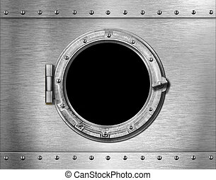 metallo, sottomarino, finestra, fondo, nave, o