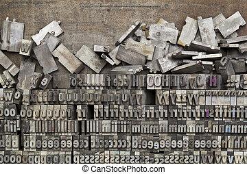metallo, stampa blocca, letterpress