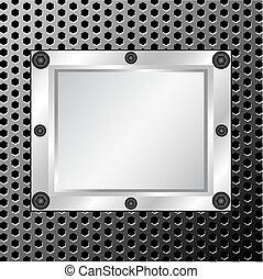 metallo, struttura, con, argento, cornice, su