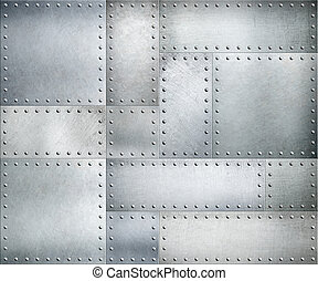 metallo, struttura, o, fondo, piastre, chiodi