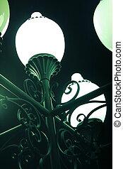 metallo, tonalità, vetro, lampada, strada, ornamento