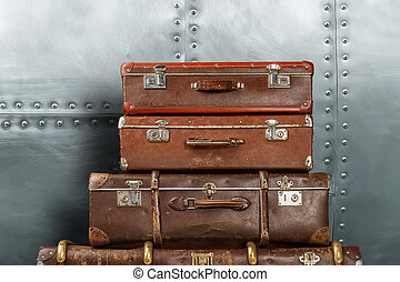 metallo, vecchio, fondo, valigie