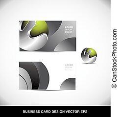 metallo verde, scheda affari, sfera