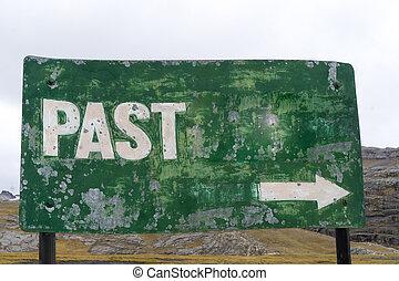 """metallo verde, segno, con, il, parola, """"past"""""""