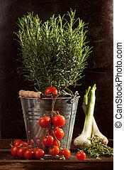 metallo, verdura, secchio