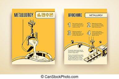 metallurgia, opuscolo, ditta, vettore, isometrico