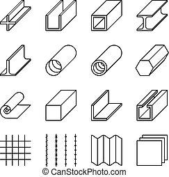 metallurgia, prodotti, linea, vettore, icone