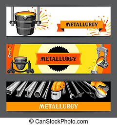Metallurgical banners design. Industrial items and...