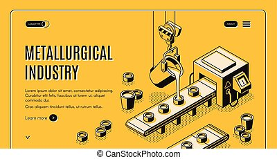 Metallurgical company isometric vector web banner -...