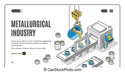Metallurgical industry company isometric banner