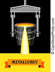 Metallurgical ladle illustration. Industrial equipment for...